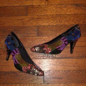 Beverly Feldman vintage heels shoes sequin 7.5 m